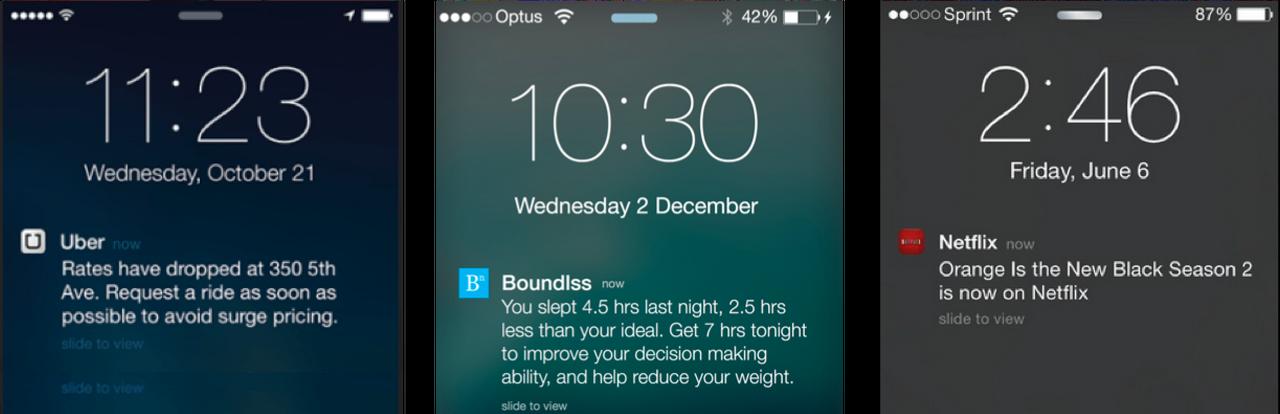 우버, Boundless, 넷플릭스에서는 개인화된 앱푸시를 발송하여 열람율과 구매전환율을 높입니다.